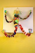 Clown made from folded paper decorating wall of Rainbow Preschool Teczowe Przedszkole Balucki District Lodz Central Poland