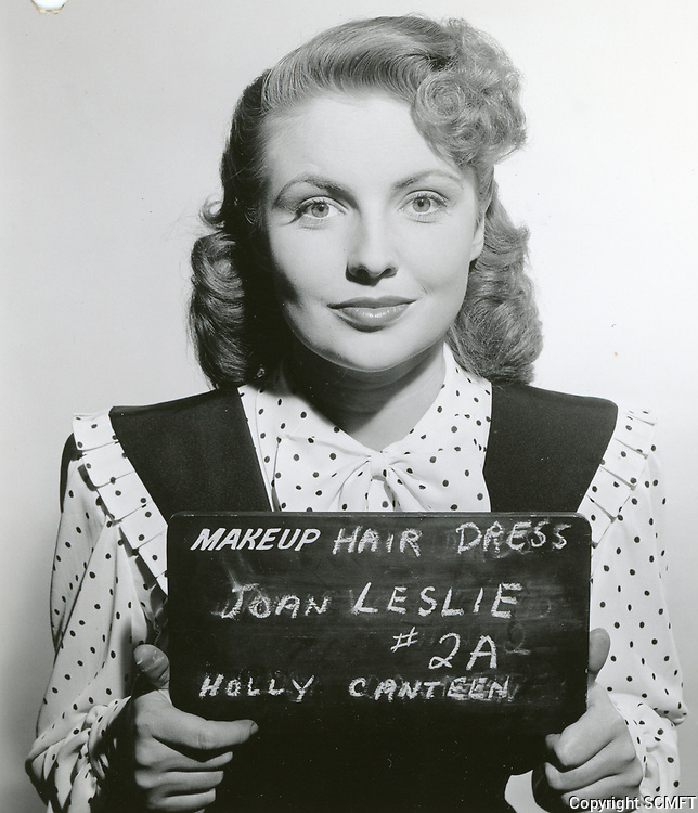 """6/3/44 Joan Leslie at her hair/dress wardrobe test for Warner Bros.' film, """"Hollywood Canteen."""" She won the starring role for the film."""