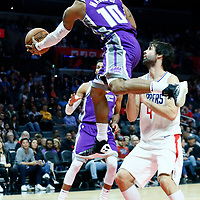 12 October 2017: Sacramento Kings guard Frank Mason III (10) passes the ball to Sacramento Kings guard Garrett Temple (17) during the LA Clippers 104-87 victory over the Sacramento Kings, at the Staples Center, Los Angeles, California, USA.