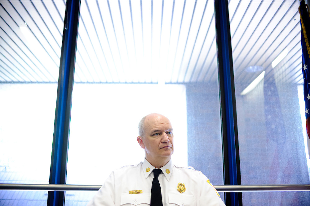 (photo by Matt Roth).Assignment ID: 30127696A.Wednesday, June 20, 2012..In order to remedy his department's $48million budget deficit, Baltimore City Fire Chief James Clack, photographed in his office Wednesday, June 20, 2012, will be disbanding three fire companies...City Councilman William Pete Welch proposes advertisements be allowed on Baltimore City Fire Department vehicles as a way to combat a $48 million budget shortfall, rather than disbanding three companies.