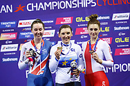Podium, Women Individual Pursuit, Lisa Brennauer (Germany) Gold medal, Katie Archibald (Great Britain) silver medal, Justyna Kaczkowska (Poland) bronze medal, during the Track Cycling European Championships Glasgow 2018, at Sir Chris Hoy Velodrome, in Glasgow, Great Britain, Day 3, on August 4, 2018 - Photo Luca Bettini / BettiniPhoto / ProSportsImages / DPPI