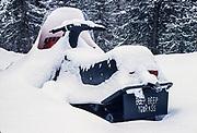 Snow machne at Don and Dolly Smith's residence, Kobuk River Valley, Kiana, Alaska, USA