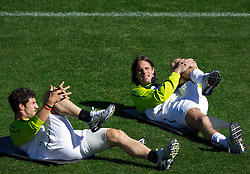 Bojan Jokic of Slovenia and Marko Suler of Slovenia during a training session at  Hyde Park High School Stadium on June 14, 2010 in Johannesburg, South Africa.  (Photo by Vid Ponikvar / Sportida)