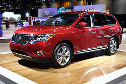 12 February 2015:  2015 NISSAN PATHFINDER: Nissan's big new for SUV consumers is the debut of the first-ever Pathfinder Hybrid. The 2015 Pathfinder is offered in four models: S, SV, SL and Platinum, with three-row, seven passenger interior, and offered in four-wheel drive (4WD) and two-wheel drive (2WD) configurations, with a maximum 5,000-pound towing capacity. Pathfinder is the only vehicle in class with selectable 2WD, Auto or 4WD Lock modes for its available intuitive ALL-MODE 4x4-i system. Cargo room ranges from 16.0 cu. ft. with second and third row seats upright to 79.8 when seats are folded. An available Dual panorama moonroof creates an even more airy cabin environment. Enhancements to the '14 Pathfinder models include a new SL Tech Package, featuring Bose 13-speaker Premium Audio System, Nissan Navigation System, voice recognition, XM NavTraffic and NavWeather capability (SiriusXM subscription required, sold separately), Zagat Restaurant Survey, Bluetooth Streaming Audio and 8.0-inch color touchscreen monitor. Visual exterior details include a wide chrome grille, large aerodynamic headlights, muscular fenders, front and rear spoilers, rear tire deflectors and rear suspension fairings to help achieve among the best aerodynamic performance in the segment. Standard 3.5-liter V-6 produces 260 horsepower and is linked-up with the next-generation CVT (continuously variable transmission) for enhanced driver feel and improved fuel economy. The Pathfinder Hybrid comes with a 3.5-liter V-6 as well. It's assisted by 15 kW electric motor for a combined output of 250 horsepower. Five new exterior colors have been added this model year: Java Metallic, Midnight Jade, Gun Metallic, Magnetic Black and Pearl White. This is the fourth generation Pathfinder, first introduced as a 1986 model. Throughout its 27-year history it has remained one of Nissan's most popular and most recognized nameplates.<br /> <br /> First staged in 1901, the Chicago Auto Show is the largest auto show in