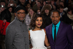 © licensed to London News Pictures. London, UK 10/01/2013. Samuel L Jackson, Kerry Washington and Jamie Foxx (left to right) attending UK premiere of Django Unchained in Leicester Square, London. Photo credit: Tolga Akmen/LNP