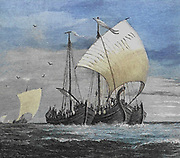 The Vikings crossing the North Sea From the book ' The viking Bodleys; an excursion into Norway and Denmark ' by Horace Elisha Scudder Published in Boston, by Houghton, Mifflin and Company in 1885 from the BODLEY FAMILY series of books