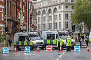 """London, United Kingdom, May 23, 2021: Police and private security is called to provide their safety services during a """"in Solidarity with Isrel"""" rally outside the Israeli Embassy in London on Sunday, May 23, 2021. <br /> At least 243 people, including more than 100 women and children, were killed in Gaza, according to its health ministry. Israel has said it killed at least 225 militants during the fighting. Hamas has not given casualty figures for fighters. In Israel 12 people, including two children, were killed, its medical service says. After 11 days of fighting, Israel and the Palestinian militant group Hamas have agreed to a ceasefire. (Photo by Vudi Xhymshiti)"""