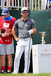 June 24, 2018 - Cromwell, CT, U.S. - CROMWELL, CT - JUNE 24: Paul Casey of England waits on the first tee during the Final Round of the Travelers Championship on June 24, 2018 at TPC River Highlands in Cromwell, Connecticut. (Photo by Fred Kfoury III/Icon Sportswire) (Credit Image: © Fred Kfoury Iii/Icon SMI via ZUMA Press)
