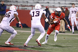 11 December 2015:  David Jones pursues Christian Gibbs(12). NCAA FCS Quarter Final Football Playoff game between Richmond Spiders and Illinois State Redbirds at Hancock Stadium in Normal IL (Photo by Alan Look)