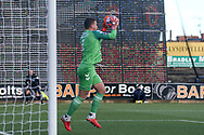 Dillon Phillips of Charlton Athletic (1) claims a cross during the The FA Cup match between Mansfield Town and Charlton Athletic at the One Call Stadium, Mansfield, England on 11 November 2018.