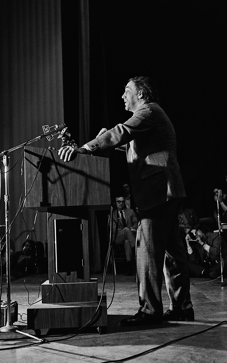 """Attorney William Kunstler speaks at the University of Cincinnati in 1969. William Moses Kunstler was an American lawyer and civil rights activist, known for defending the Chicago 7. Kunstler was an active member of the National Lawyers Guild, a board member of the American Civil Liberties Union (ACLU) and the co-founder of the Law Center for Constitutional Rights, the """"leading gathering place for radical lawyers in the country.""""<br /> <br /> Kunstler's defense of the Chicago Seven from 1969 to 1970 led The New York Times to label him """"the country's most controversial and, perhaps, its best-known lawyer""""."""