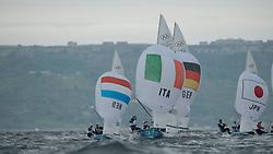 01-08-2012 WATERSPORT: OLYMPISCHE SPELEN 2012: WEYMOUTH<br /> Zandona Gabrio, Zucchetti Pietro, (ITA, 470 Men).Follmann Patrick, Gerz Ferdinand, (GER, 470 Men).Harada Ryunosuke, Yoshida Yuugo, (JPN, 470 Men)<br /> ***NETHERLANDS ONLY***<br /> ©2012-FotoHoogendoorn.nl