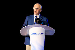 Chairman of the Gold Coast 2018 Commonwealth Games Corporation Peter Beattie gives a speech during the Closing Ceremony for the 2018 Commonwealth Games at the Carrara Stadium in the Gold Coast, Australia.