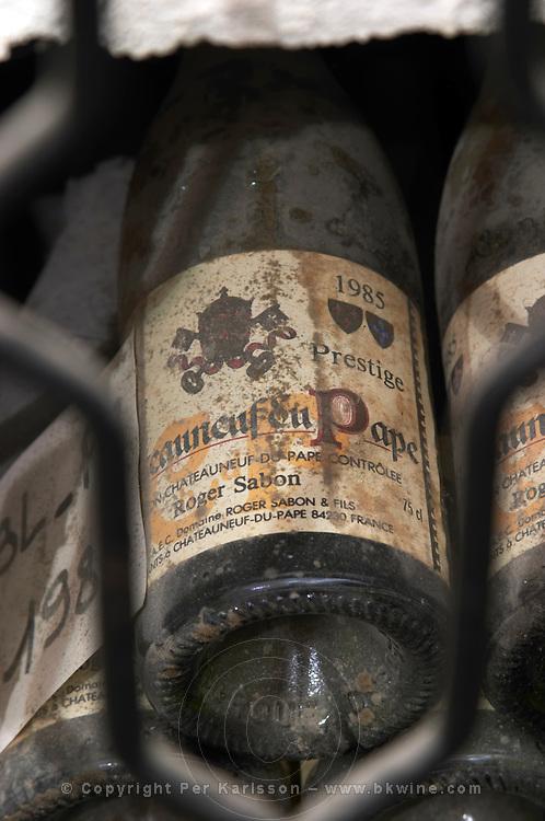 old bottles in the cellar 1985 cuvee prestige domaine roger sabon chateauneuf du pape rhone france