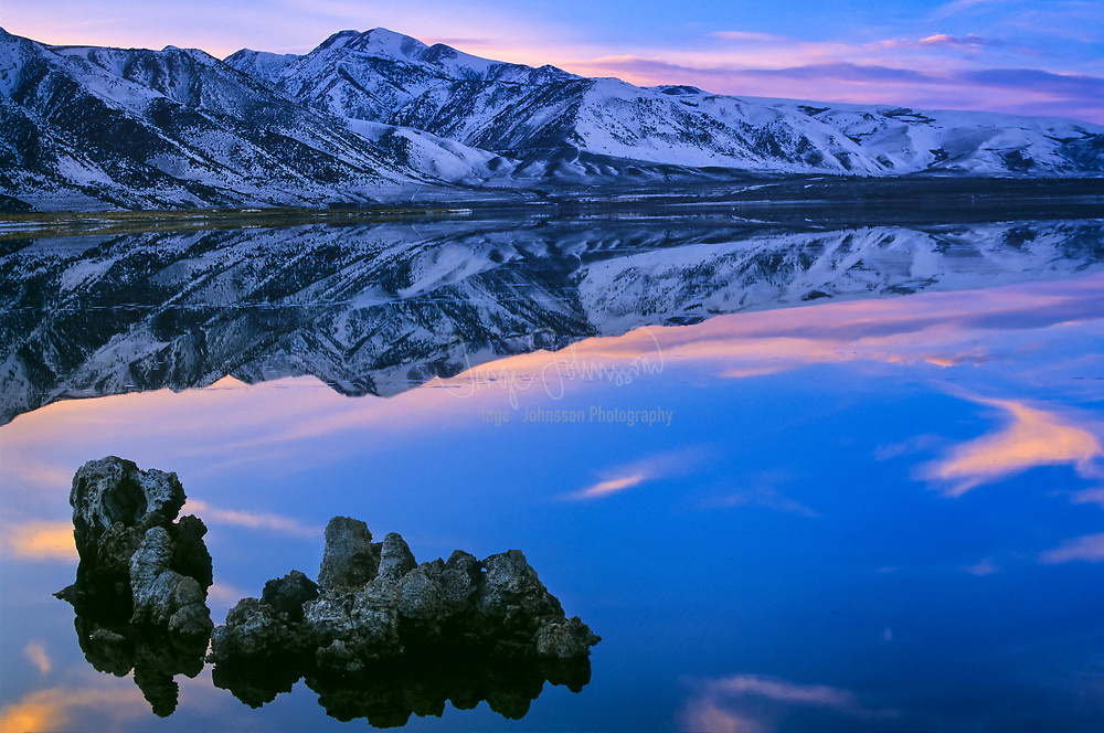 Tufa formations reflecting in Mono Lake in California's Owens Valley, located just east of Yosemite National Park near the town of Lee Vining.
