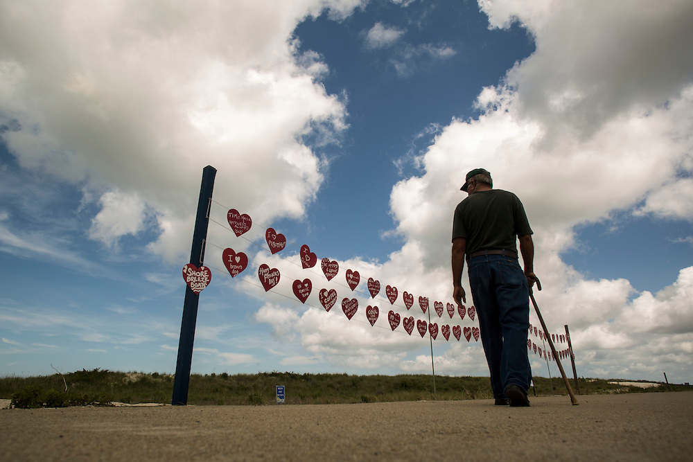 """CAPE CHARLES, VA - JUNE 24: A """"Walk of Hearts"""" art display is pictured on Tuesday, June 24th, 2014 in Cape Charles, Va. (Photo by Jay Westcott/For The Washington Post)"""