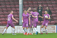 Rochdale celebrate goal scored by Rochdale forward Matt Gillam (36) to go 3-3 during the EFL Sky Bet League 1 match between Scunthorpe United and Rochdale at Glanford Park, Scunthorpe, England on 8 September 2018. Photo Ian Lyall