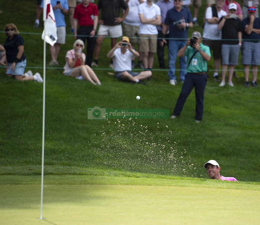 June 22, 2018 - Cromwell, CT, USA - Rory McIlroy blasts out of a bunker on the 18th hole during the second round of the Travelers Championship at TPC River Highlands in Cromwell, Conn., on Friday, June 22, 2018. (Credit Image: © Patrick Raycraft/TNS via ZUMA Wire)