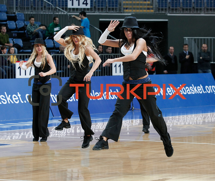 Anadolu Efes's show girls during their Turkish Basketball League match Anadolu Efes between Trabzonspor at Sinan Erdem Arena in Istanbul, Turkey, Saturday, December 10, 2011. Photo by TURKPIX