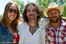 Cassandra, Michael Barragan and Sean Duggan on day two of the Born Free Vintage Chopper and Classic Motorcycle Show at the Oak Canyon Ranch in Silverado, CA. USA. Sunday, June 29, 2014.  Photography ©2014 Michael Lichter.