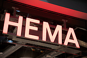 Sign for the discount brand HEMA in Birmingham, United Kingdom. HEMA is originally a Dutch discount retail chain that started life as a dimestore, owned by the British investment firm Lion Capital LLP since 2007.