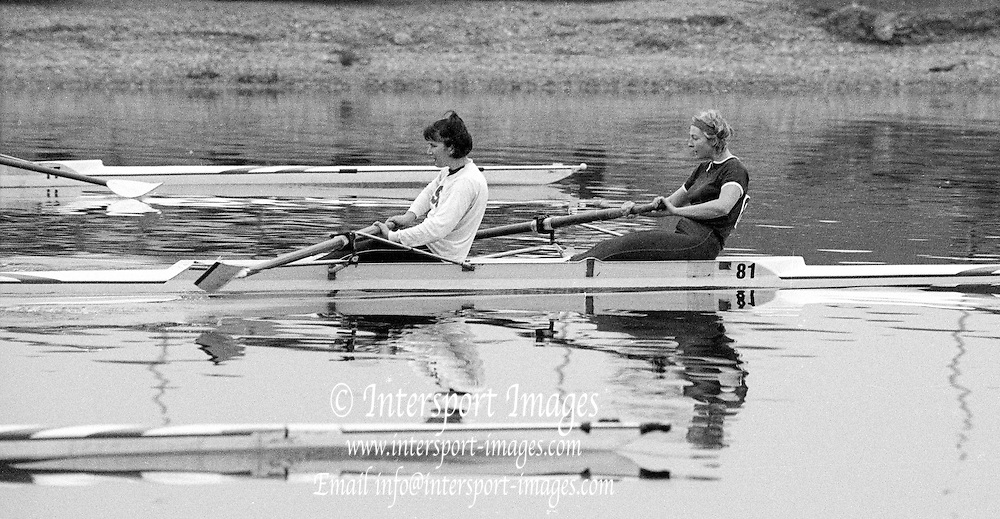 Staines, GREAT BRITAIN,   <br /> Stroke, Kim THOMAS and Alison BONNER, competing at the <br /> British Rowing Women's Heavy Weight Assessment. Thorpe Park. Sunday 21.02.1988,<br /> <br /> [Mandatory Credit, Peter Spurrier / Intersport-images] 1987 GBR Women's H/Weight Assesment Thorpe Park, Surrey.UK