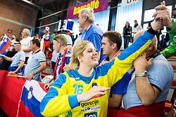 Misa Marincek of Slovenia celebrates after winning the handball game between Women National Teams of Slovenia and Switzerland in 2014 Women's European Championship Qualification, on March 30, 2014 in Arena Kodeljevo, Ljubljana, Slovenia. Photo by Vid Ponikvar / Sportida