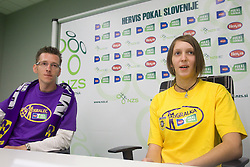 David Ferk, 12th player of NK Maribor and Maja Zugec, 12th player of NK Domzale during press conference of Hervis Cup 2011, on May 23, 2011 in Stozice, Ljubljana, Slovenia. NK Domzale and NK Maribor will play in the Final of Hervis Cup 2011 at Stozice Stadium.  (Photo By Vid Ponikvar / Sportida.com)