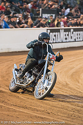 Invited builder Andy Carter flat-track racing his Pangea Speed 1943 Harley-Davidson UL Flathead named Future Man at the Born Free pre-party and Harley-Davidson Stampede at Costa Mesa Speedway. Costa Mesa, CA. USA. Thursday June 22, 2017. Photography ©2017 Michael Lichter.