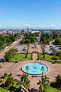 High angle view of Vientiane taken from the Patuxay Monument, Laos.