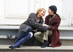 "Jennifer Lopez and Vanessa Hudgens are all smiles while filming reshoots for ""Second Act"" in Manhattan's Soho neighborhood. 06 May 2018 Pictured: Jennifer Lopez and Vanessa Hudgens. Photo credit: LRNYC / MEGA TheMegaAgency.com +1 888 505 6342"