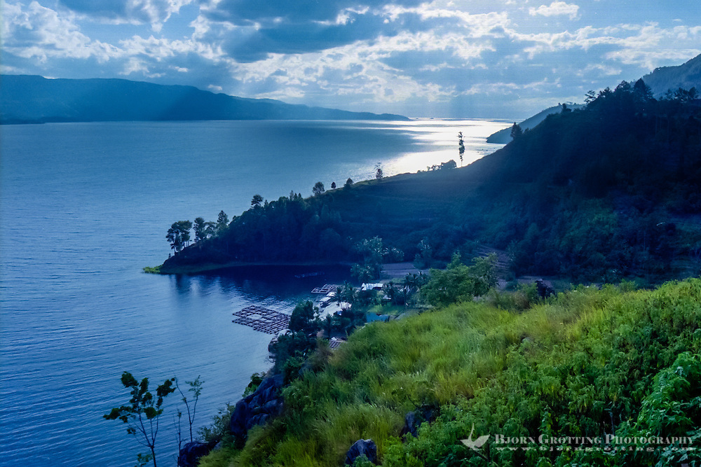 Indonesia, Sumatra. Toba. View of the Toba Lake from the mainland, Parapat side looking north-west. Samosir to the left, this island was created around 30-75.000 years ago.