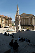 Scene at the newly renovated Chamberlain Square on 15th June 2021 in Birmingham, United Kingdom. Chamberlain Square or Chamberlain Place is a public square in central Birmingham, England, named after statesman and notable mayor of Birmingham, Joseph Chamberlain. The Victorian square was drastically remodelled in the 1970s, with most of the Victorian buildings demolished. Re-landscaping occurred most recently when the square was closed to the public for five years until March 2021 for remodelling as part of the Paradise scheme.