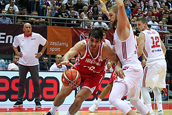 September 17, 2018 - Gdansk, Poland - Dario Saric (9) of Croatia in action against Michal Sokolowski (3) of Poland  is seen in Gdansk, Poland on 17 September 2018  Poland faces Croatia during the Basketball World Cup China 2019 Qualifiers game in the ERGO Arena sports hall in Gdansk  (Credit Image: © Michal Fludra/NurPhoto/ZUMA Press)