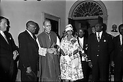 25/07/1962<br /> 07/25/1962<br /> 25 July 1962<br /> Consecration Rev. Dr Grimley S.M.A. as Bishop of Cape Palmas, Liberia at the Pro Cathedral, Dublin. Picture shows the new Bishop Very Rev. Nicholas Grimley, a native of Skerries, with representatives of the Liberian State after the ceremony (l-r): Mr George Brewer, Liberian Ambassador to United Kingdom and Northern Ireland; The Bishop of Cape Palmas; Mrs Brewer; Mr Christopher Doe, Liberian delegate to United nations and Mr D. Lawrence, Liberian Ambassador to France and Minister to the Vatican.