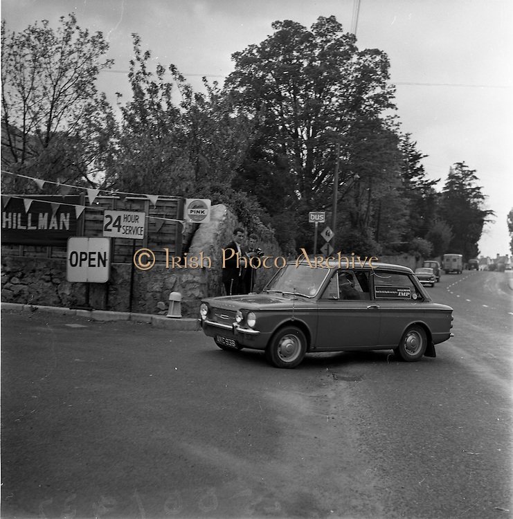 11/05/1965<br /> 05/11/1965<br /> 11 May 1965<br /> Rosemary Smith in Hillman Imp Endurance Test. Ms Smith pulls in to the Ashurst Shell Service Station, Stillorgan Road, Dublin.