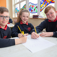 Doora NS Students Gracjan Ciesielski, Zoe Keane and Caoimhín Enright working on their posters for the Jessies Project Afternoon Tea