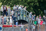 Henley-on-Thames. United Kingdom.  2017 Henley Royal Regatta, Henley Reach, River Thames. <br /> Spectators gathered on the Phyllis Court Club, bridge, to watch the racing.<br /> <br /> 15:52:05  Sunday  02/07/2017   <br /> <br /> [Mandatory Credit. Peter SPURRIER/Intersport Images.