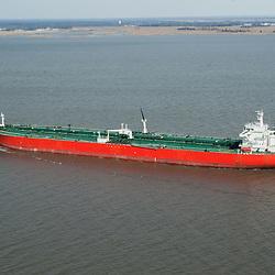 Aerial view of HEYDAR ALIYEV tanker in the Delaware River