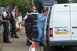 © Licensed to London News Pictures 15/09/2021. <br /> Bromley, UK, A forensic officer on scene. A 51 year old man has been stabbed to death in Bromley, Greater London last night. Met police were called at 10.51pm and discovered the victim with multiple wounds. Photo credit:Grant Falvey/LNP