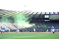 01/02/15 SCOTTISH LEAGUE CUP SEMI-FINAL<br /> CELTIC v RANGERS<br /> HAMPDEN - GLASGOW<br /> A smoke bomb is set off in Hampden as the Old Firm takes place.