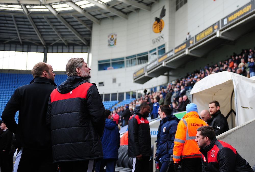 Fleetwood Town manager Steven Pressley looks up to the stands as he prepares for his side to take on his previous club Coventry City<br /> <br /> Photographer Chris Vaughan/CameraSport<br /> <br /> Football - The Football League Sky Bet League One - Coventry City v Fleetwood Town - Saturday 27th February 2016 - Ricoh Stadium - Coventry   <br /> <br /> © CameraSport - 43 Linden Ave. Countesthorpe. Leicester. England. LE8 5PG - Tel: +44 (0) 116 277 4147 - admin@camerasport.com - www.camerasport.com