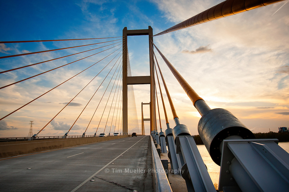 Audubon Bridge, crossing the Mississippi River, is the longest cable-stayed bridge in the Western Hemisphere, with a 1,583 main span. Audubon Bridge connects West Feliciana Parish with Pointe Coupee Parish.