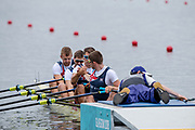 """Glasgow, Scotland, """"2nd August 2018"""", GBR M4X,  Graeme THOMAS and Tom BARRAS, With a """"Cross Grip"""" before their heat in the Men's Quadruple Sculls, European Games, Rowing, Strathclyde Park, North Lanarkshire, © Peter SPURRIER/Alamy Live News"""