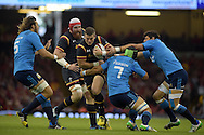 Scott Williams of Wales looks to go past Italy's Francesco Minto (7) .Wales v Italy, RWC warm up international match at the Millennium Stadium in Cardiff ,South Wales on Saturday 5th Sept  2015. pic by Andrew Orchard, Andrew Orchard sports photography.
