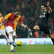 Galatasaray's Colin Kazim Richards (L) during their Turkish Super League soccer match Galatasaray between Manisaspor at the TT Arena at Seyrantepe in Istanbul Turkey on Wednesday, 21 December 2011. Photo by TURKPIX