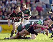 Twickenham, Surrey, England, UK., 25th January 2003, Zurich Premiership Rugby, Stoop Memorial Ground, England, Harlequins vs Leicester Tigers,<br /> [Mandatory Credit: Peter Spurrier/Intersport Images],<br /> Powergen Cup Quater final Harlequins v Leicester<br /> Tony Diprose is tackled by Josh Kronfeld, with Franck Touraire looking on.