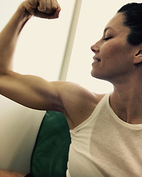 """Jessica Biel releases a photo on Instagram with the following caption: """"Join me and @TheUSO as we honor and support our servicemen and women!  I hereby nominate @theRock to join in on the #gunshow #Flex4Forces"""". Photo Credit: Instagram *** No USA Distribution *** For Editorial Use Only *** Not to be Published in Books or Photo Books ***  Please note: Fees charged by the agency are for the agency's services only, and do not, nor are they intended to, convey to the user any ownership of Copyright or License in the material. The agency does not claim any ownership including but not limited to Copyright or License in the attached material. By publishing this material you expressly agree to indemnify and to hold the agency and its directors, shareholders and employees harmless from any loss, claims, damages, demands, expenses (including legal fees), or any causes of action or allegation against the agency arising out of or connected in any way with publication of the material."""