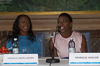 Friidrett<br /> 10. Juni 2015<br /> Exon Mobil Bislett Games<br /> Jordbærparty<br /> Veronica Campell-Brown (L) , Jamaica<br /> Murielle Ahouré , CIV<br /> Foto: Astrid M. Nordhaug