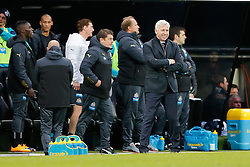 Newcastle United Manager Alan Pardew looks delighted in the closing moments of the game with it going on to end with Newcastle winning 2-1 to inflict a first defeat in all competitions this season on Chelsea - Photo mandatory by-line: Rogan Thomson/JMP - 07966 386802 -06/12/2014 - SPORT - FOOTBALL - Newcastle, England - St James' Park - Newcastle United v Chelsea - Barclays Premier League.